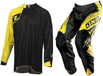 One Industries Motocross Mx Bike Kit Carbon Pant Red Yellow + Solid Black Jersey