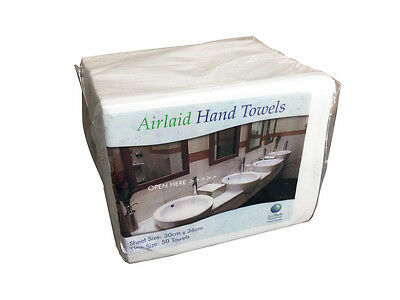 Pack of 50 Luxury White Paper Airlaid Disposable Paper Hand Towels 30x36cm