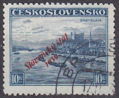 SLOVAKIA - NAZI OCCUPATION - RARE OVERPRINT 1939 Mi. 22 - used