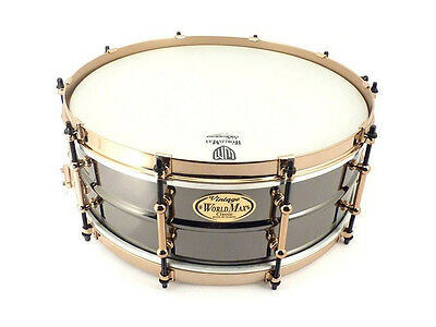 World Max 14 x 6.5 Black Brass Snare Drum with Aztec Gold Hardware (NEW)