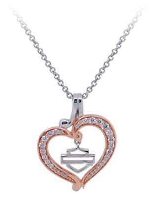 Harley-Davidson Womens Rose Gold Plated & Silver Bling Heart Necklace HDN0371-18