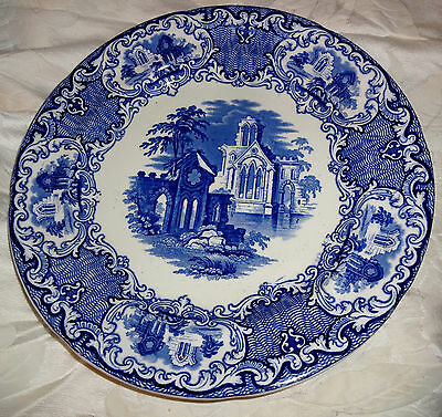"""Antique George Jones & Sons Abbey 1790 Blue Dinner Plate Charger 10-1/2"""" England"""