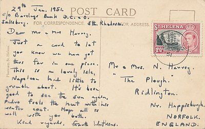 St Helena Sg 150 On Postcard To Norfolk 1951