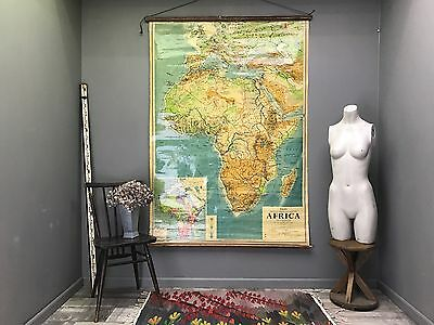 Great Large Vintage Africa Map - Retro Antique Phillips School Wall Hanging Art