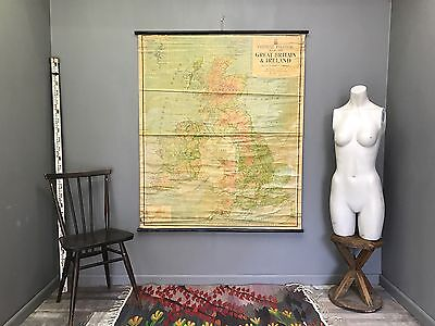 Large Vintage Great Britain and Ireland UK Map Retro Antique School Hanging Wall