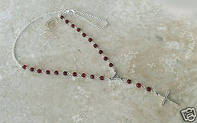 Genuine India Garnet Antique And Sterling Silver Rosary Necklace