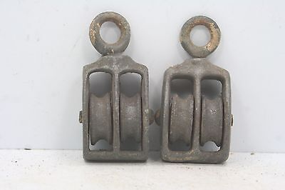 "Lot of 2 Vintage Small Double  Pulleys  - 2"" High - Wheels are 3/4"" Diameter"
