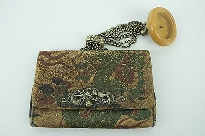 Rare Beautiful Antique 1800s Japanese Meiji Leather 2-Pocket Tobacco Pouch