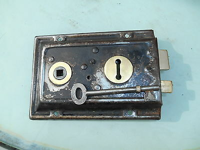 Vintage  Brass And Black Painted Steel Shed Door Or Out Building Lock & Key