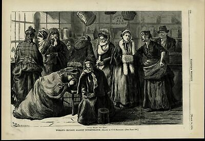 Women's Crusade Temperance Movement Saloon nice 1874 great old print for display