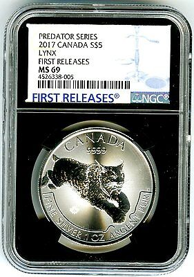 2017 $5 Canada 1 Oz Silver Lynx Ngc Ms69 Rare First Releases Black Core Holder