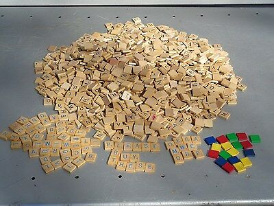 1909 Wood Scrabble Tiles For Arts Crafts Jewelry Letters Numbers Colored & Blue