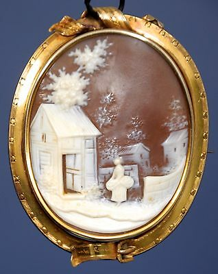 Antique Cameo Victorian tested 18K gold carved shell pin 1960