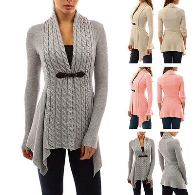 Women Long Sleeve Sweater Top Casual Irregular Knitted Cardigan Outwear Coat CA