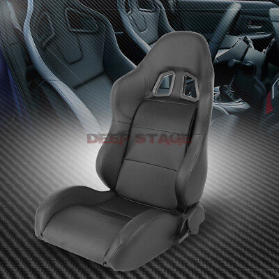 2 X Pvc Leather Black Universal Full Reclinable Xl-06 Sports Style Racing Seat