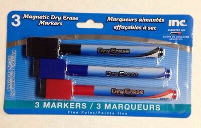 Magnetic Fine-Point Dry Erase Markers 3 Pack Red Blue Black Low Odor Non Toxic