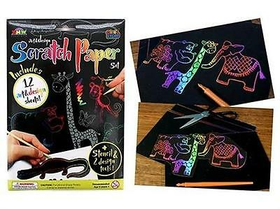 """""""SCRATCH ART PAPER WITH AFRICAN ANIMALS STENCIL"""" Create Colourful Works Of Art"""