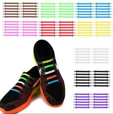 12pc Unisex Running No Tie Fluorescent Shoelaces Elastic Silicone Lace For Shoes