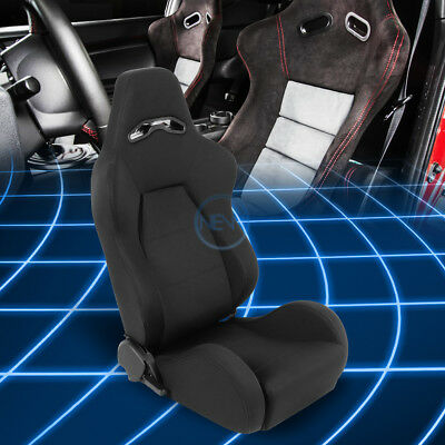 Black Woven Black Stitches Universal Sport Reclinable Racing Seat Passenger Side