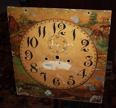 Antique Hand Painted Grandfather's Clock Face with Crest Cottage Scenes & Ruins
