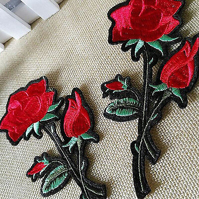 Newest Pretty Red Rose Gardening Flower Rose Embroidered Iron On Applique Patch