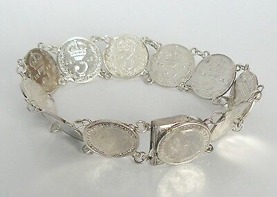 SILVER STERLING c1910s ENGLISH 20g THREE PENCE x10 COIN CHAIN BRACELET BANGLE