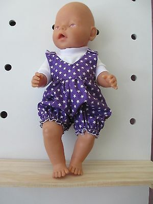 """Overall & T Shirt set suitable Baby Born - Doll  """" Purple Star"""""""