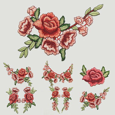Rose Flower Patch Applique Badge Embroidered Floral Collar Sew on Iron Dress DIY