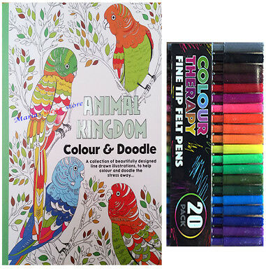 Adult Anti Stress Therapy Colouring Book 100 PAGES SPIRAL  + 24 FELT TIP PENS