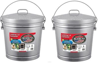 2 ea Behrens 6106 6 Gallon Galvanized Garbage Pail with  Cover & Handle