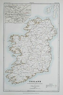 1881 IRELAND Dublin To Illustrate the Hydrography (Water Supply) of Country Map