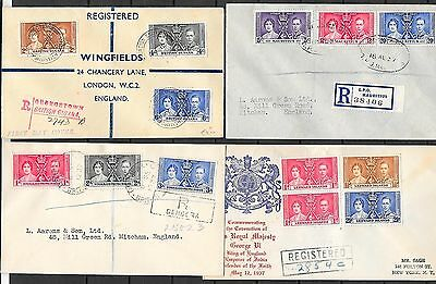 British Colonies covers 1937 4 registered  Coronation covers