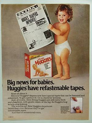 1983 Huggies Diapers - Vintage Magazine Ad - Cute Baby in Diaper News Newspaper
