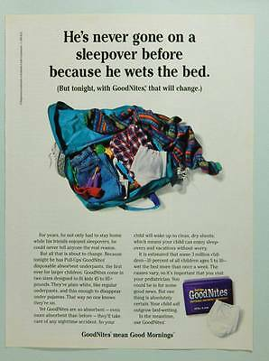 1995 Pull-Ups Goodnites Underpants - Vintage Ad Page - Bed Wetting - Sleepover