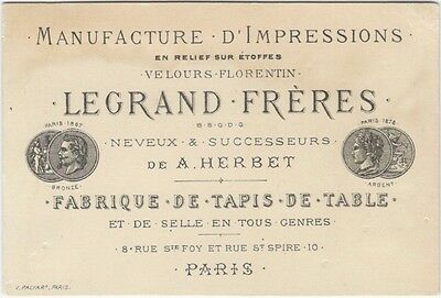 1880s French Fancy Fabric Manufacturer Trade Card -Velvet Fabrics Tablecloths