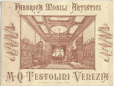 1880s Italian Artistic Furniture Manufacturer Trade Card -Venice Italy