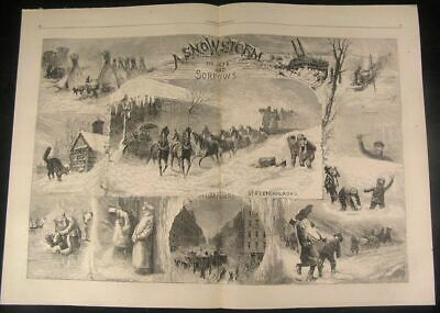 Snowstorm Joys and Sorrows Railroad 1873 antique wood engraved large print
