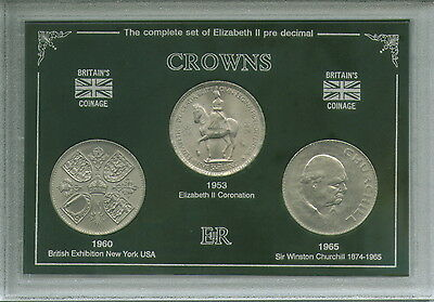 GB British Commemorative Crowns Display 1953 1960 1965 UK Crown Coin Gift Set