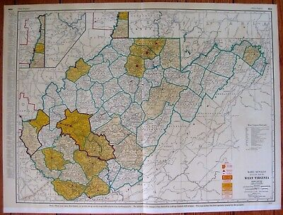 1956 Rare WEST VIRGINIA Map with RAILROADS Poster Print RARE SIZE Map 3743