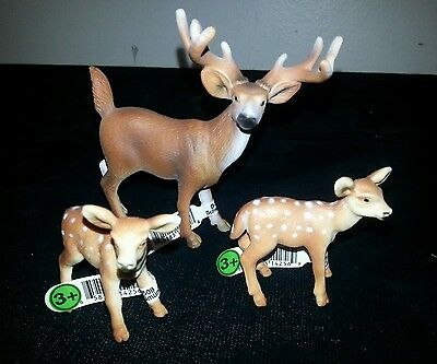 Schleich Deer - 1 Buck & 2 Fawns with Tags NICE!