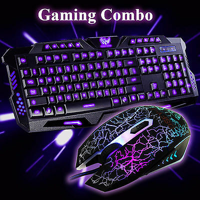 Gaming 3 Colors USB Wired Keyboard and Crack Illuminated Mouse Combo Set