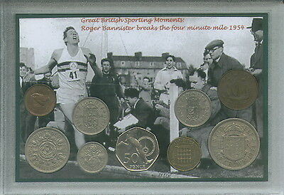 Roger Bannister Breaks The 4 Four Minute Mile Vintage Coin Year Gift Set 1954