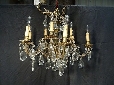 Outstanding Vintage Antique French Chandelier Crystal Bronze Full Crystal Drops