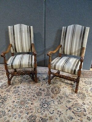 Pair Antique French Gentlemans Armchairs Circa 1900 In Oak  Striped Upholstery