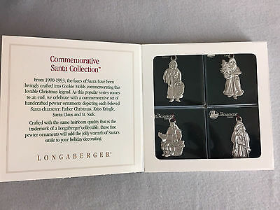 Longaberger Pewter Christmas Ornaments Santa Collection Set of Four 1990 - 1993