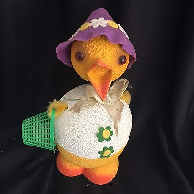Vintage Paper Mache German Bobble Head Easter Chick Candy Container Basket