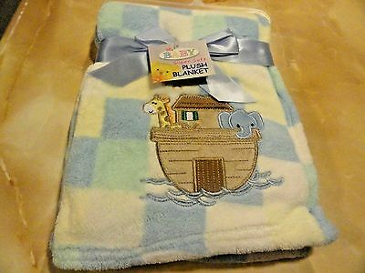 NWT soft appliqued Blue~Green~Yellow Checked Boy's NOAH'S ARK BABY BLANKET