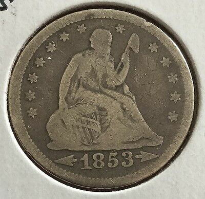 1853 US Seated LIBERTY SILVER Quarter! Very Good! Old US Coins!