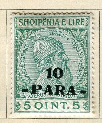 ALBANIA;  1914 early Skanderbeg surcharge issue Mint hinged 10pa. value