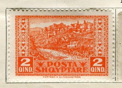 ALBANIA;  1922 early pictorial issue Mint hinged 2q. value